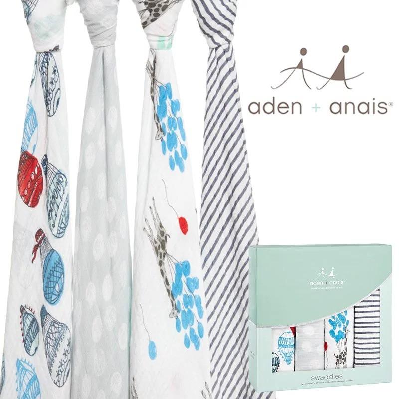 【衛立兒生活館】Aden+Anais 輕鬆抱寶寶包巾(四入裝) 氣球嘉年華款 2064