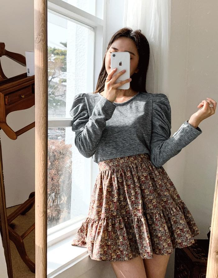 韓國空運 - Volume Shirring T-shirt 長袖上衣
