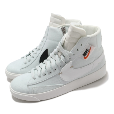 Nike 休閒鞋 Blazer Mid Rebel 女鞋 基本款 簡約 拉鍊造型 穿搭 球鞋 白 淺綠 BQ4022400