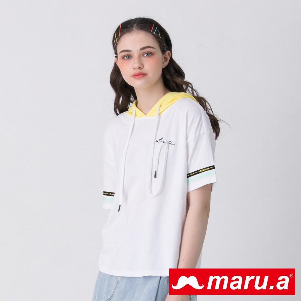 maru.a (03)胸口刺繡彩色織帶連帽上衣(白色)