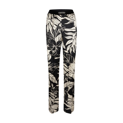 Floral printed silk satin pajama trousers