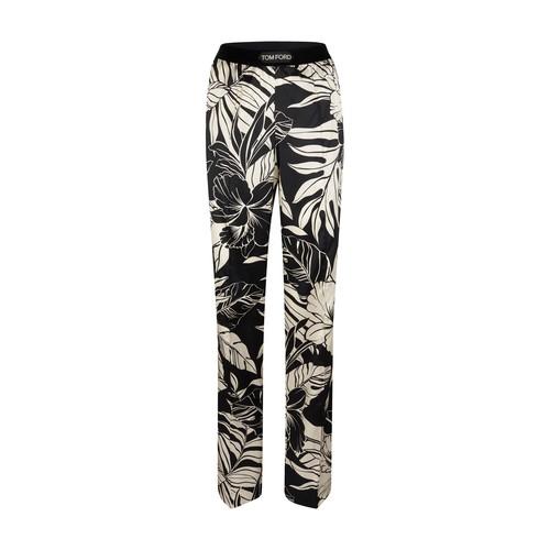 Floral printed silk satin pajama trousers