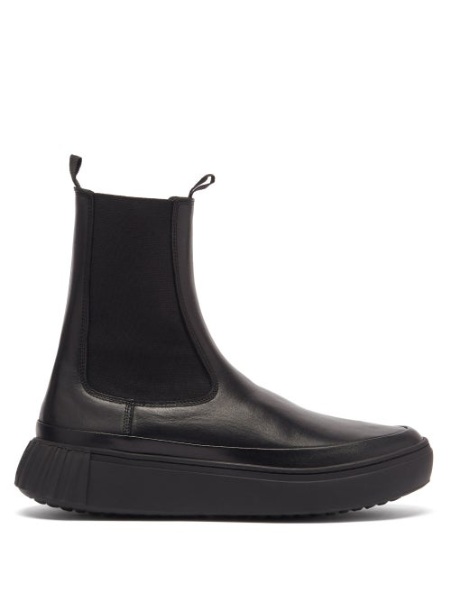 Primury - Waffle Chunky-sole Leather Chelsea Boots - Womens - Black