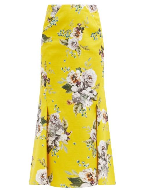 Erdem - Ivetta Carnation-print Cotton-blend Skirt - Womens - Yellow Print