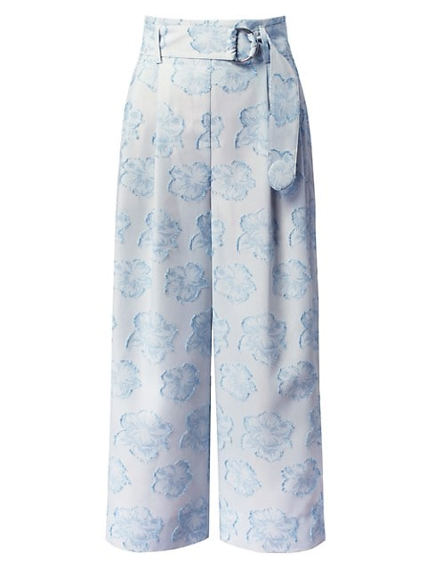 Fiorella Floral Belted Wide-Leg Trousers