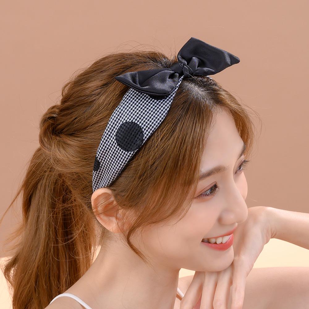 俏皮格紋點點蝶結髮箍(2色)-H10063