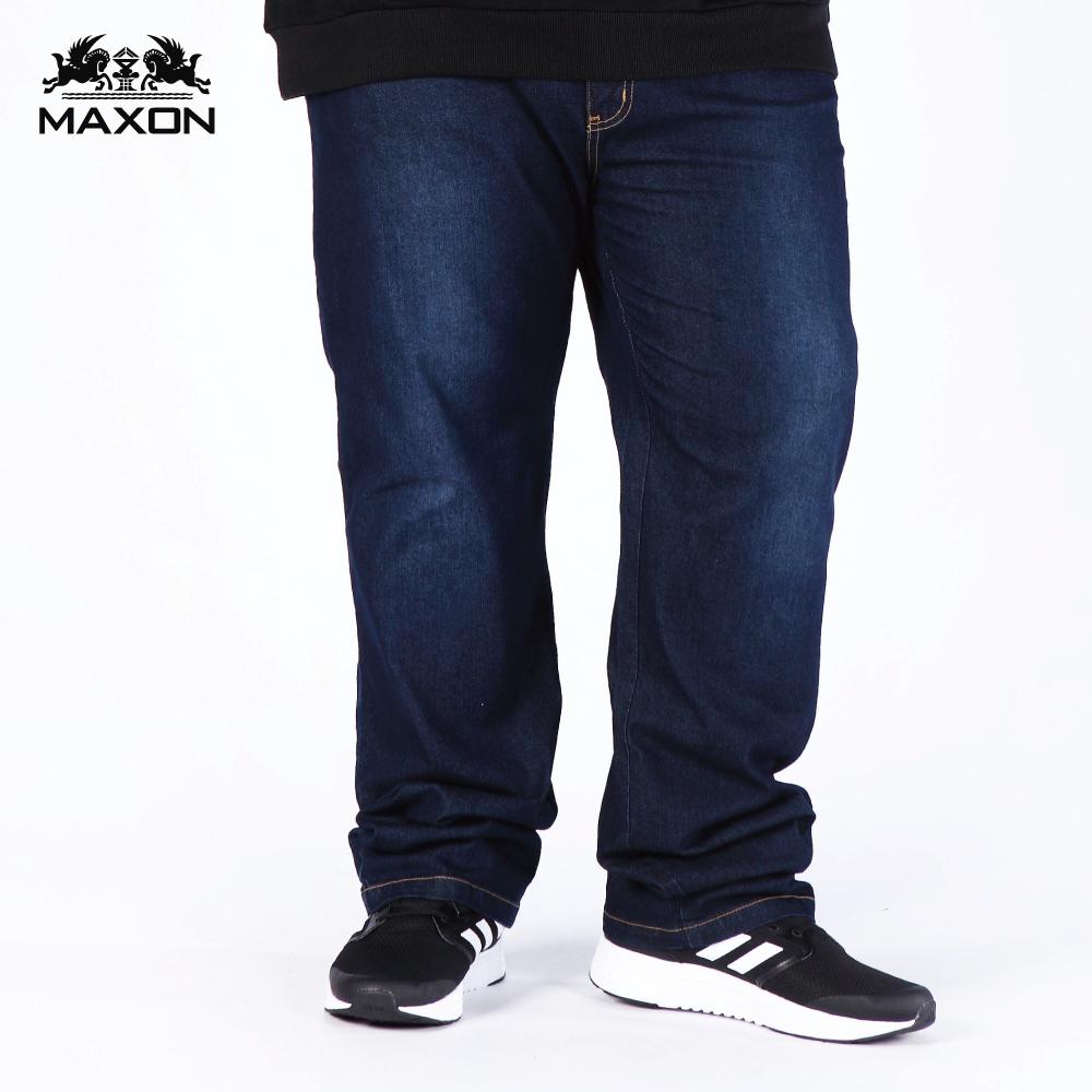 【MAXON】台灣製/大尺碼深藍輕刷標準版彈性直筒褲38~62腰 87926-58 87927-58 87928-58