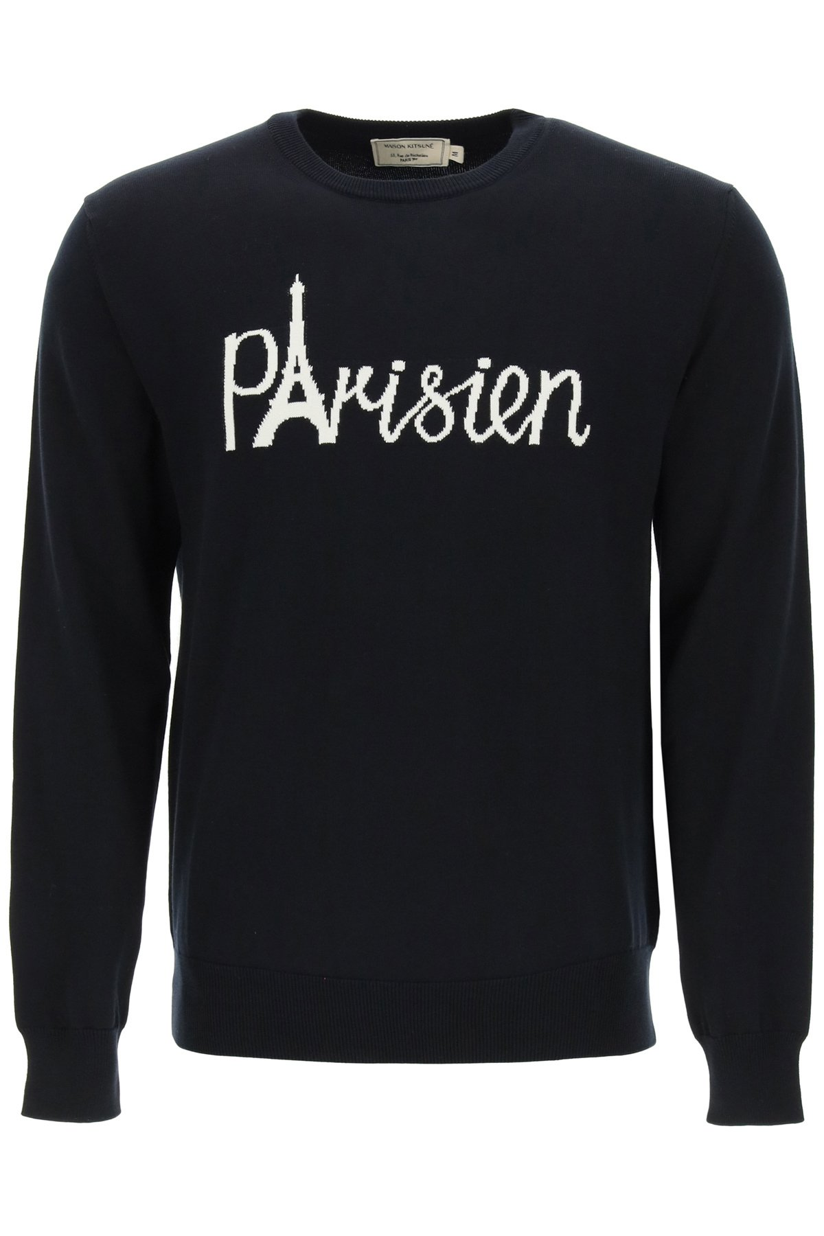 Maison kitsune parisien eiffel tower intarsia sweater
