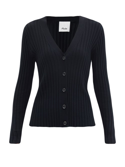 Allude - V-neck Ribbed Cotton-blend Cardigan - Womens - Black