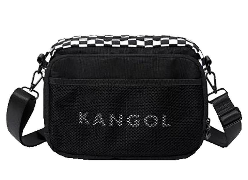 kangol 斜背包收納包中容量主袋+外袋共四層進口防水尼龍布肩背斜側可刷洗中性款男女適