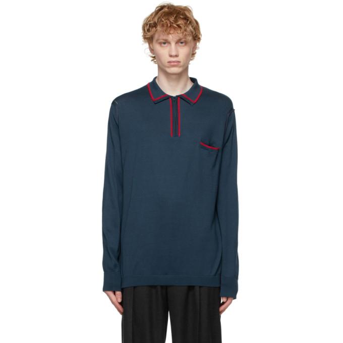 Maison Margiela 蓝色长袖 Polo 衫