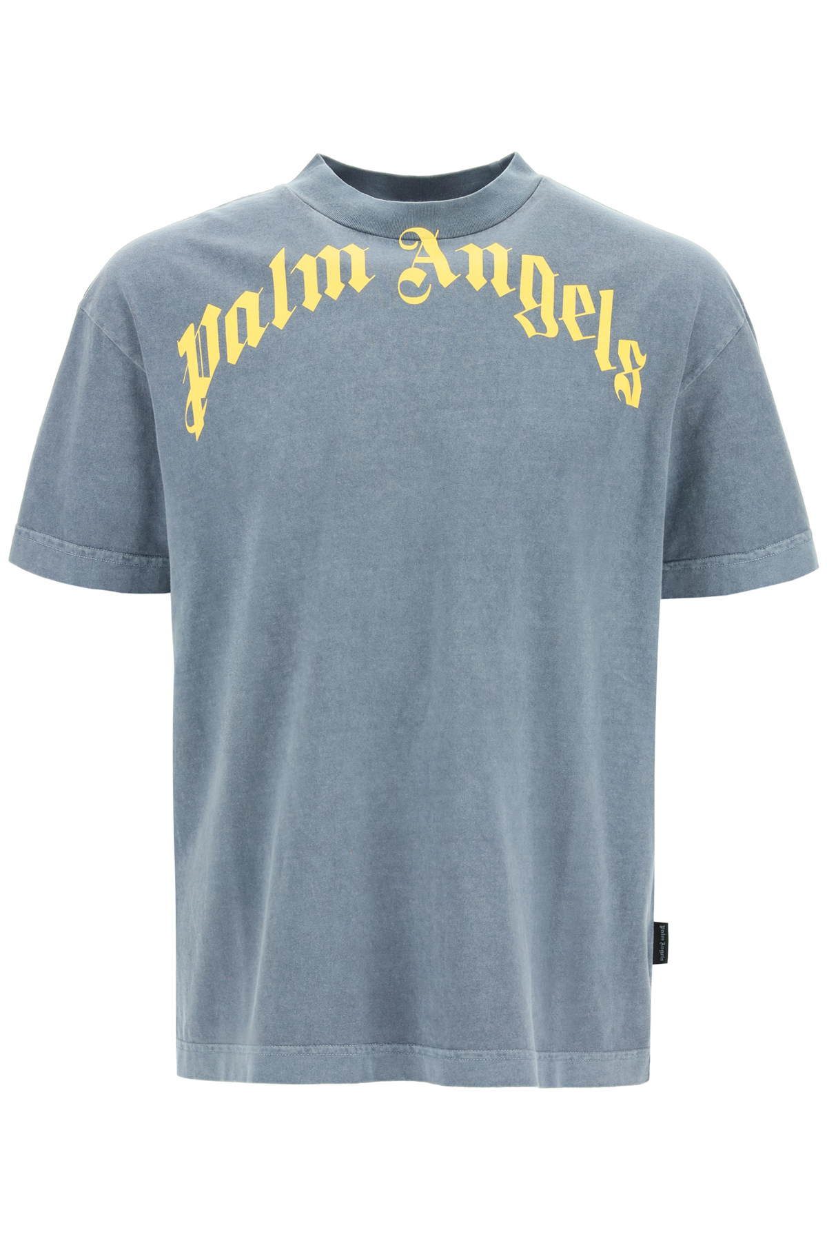 PALM ANGELS VINTAGE T-SHIRT WITH LOGO XS Blue, Yellow Cotton
