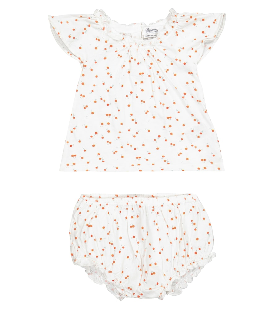 Baby cotton top and bloomers set