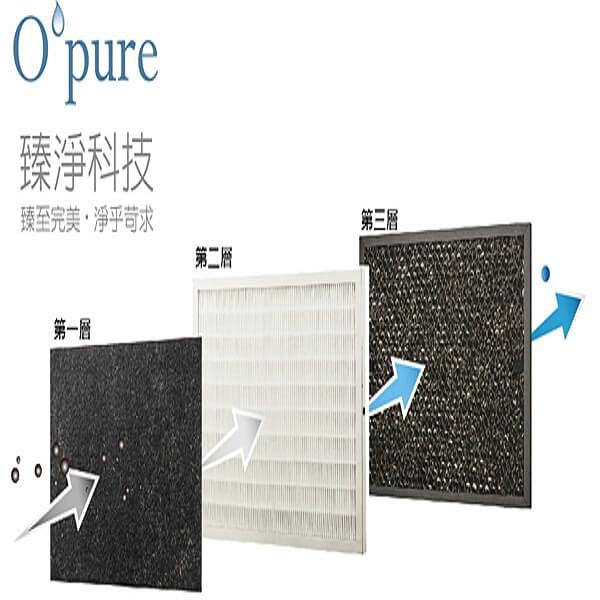 【南紡購物中心】Opure 臻淨  A1負離子空氣清淨機三層濾網組  A1-B+A1-C+A1-D