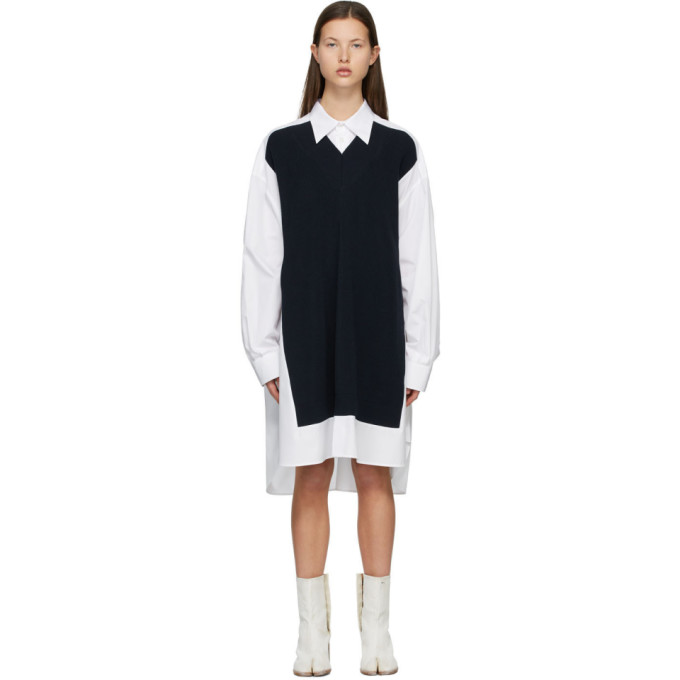 Maison Margiela 白色 and 海军蓝 Spliced 衬衫连衣裙