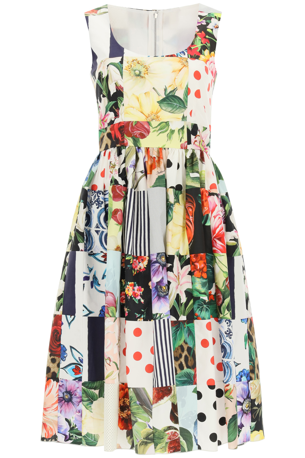 DOLCE & GABBANA PATCHWORK MIDI DRESS IN POPLIN 42 Red, White, Yellow Cotton