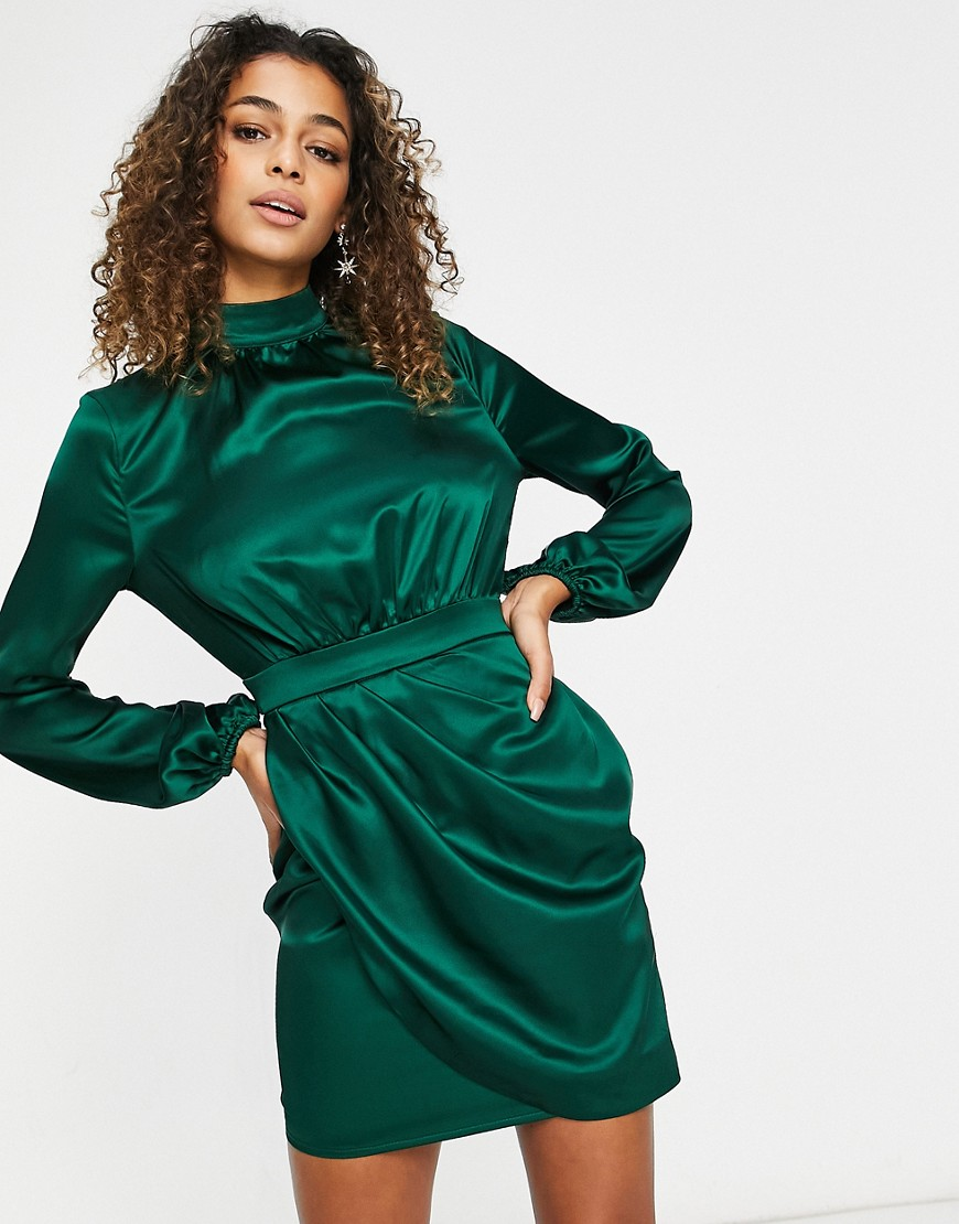 Club L London satin asymmetric volume sleeve mini dress in teal-Green