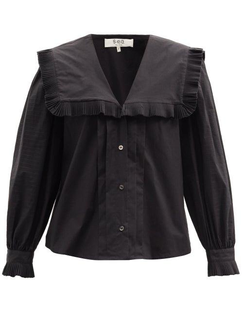 Sea - Charlie Ruffled-collar Cotton-poplin Blouse - Womens - Black