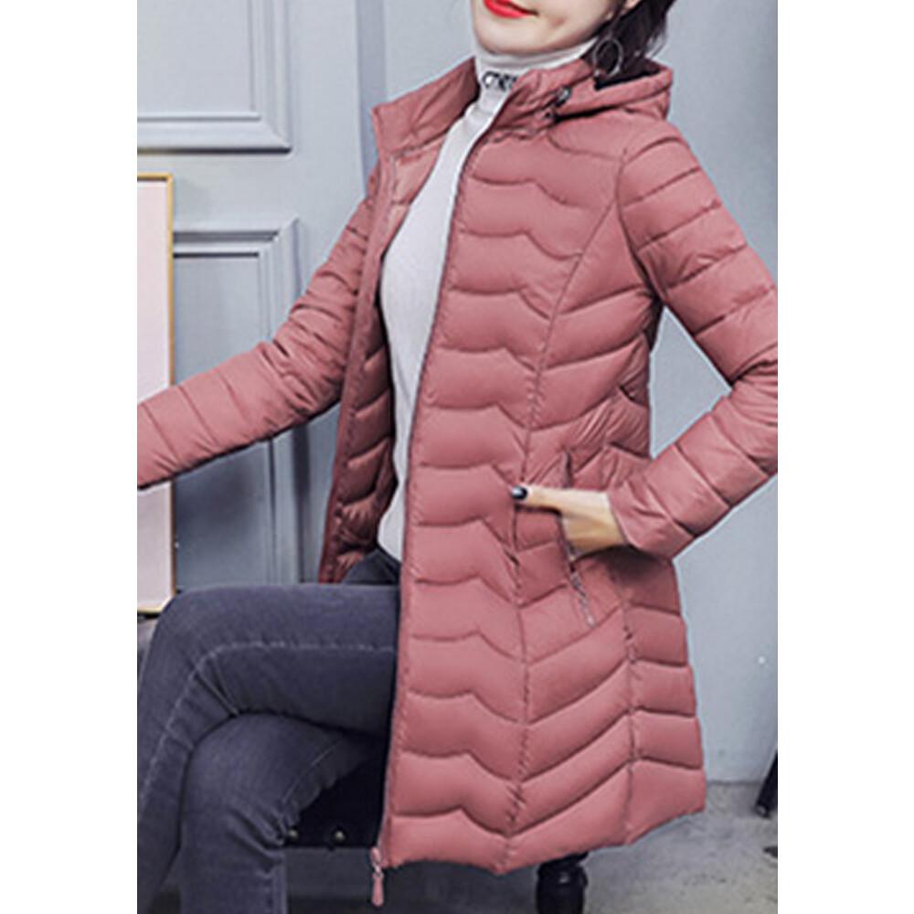 韓版修身素色羽絨外套