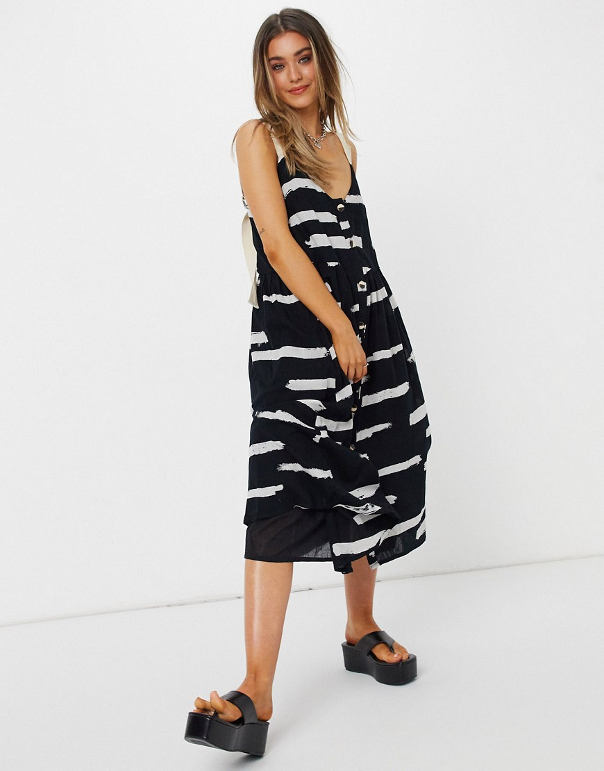 ASOS DESIGN button through midi sundress in abstract print with grosgrain straps-Multi