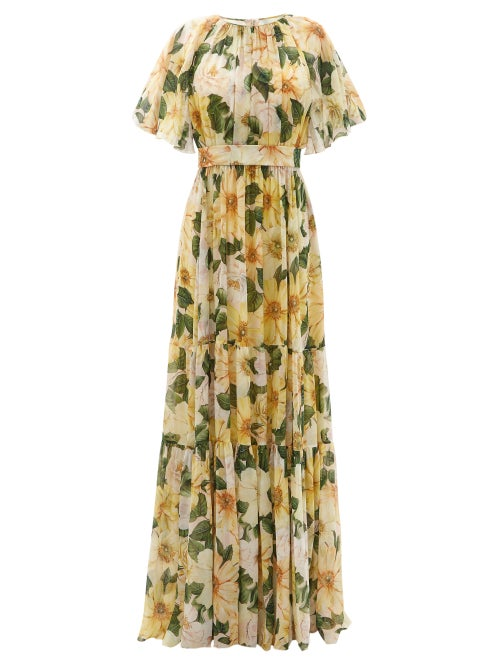 Dolce & Gabbana - Camellia-print Gathered Silk-georgette Gown - Womens - Yellow Print