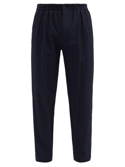 Giorgio Armani - 3d-effect Herringbone-twill Trousers - Mens - Navy