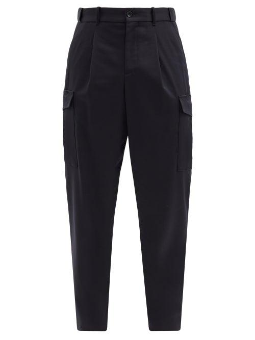 Giorgio Armani - Pleated Wool-blend Gabardine Cargo Trousers - Mens - Dark Navy
