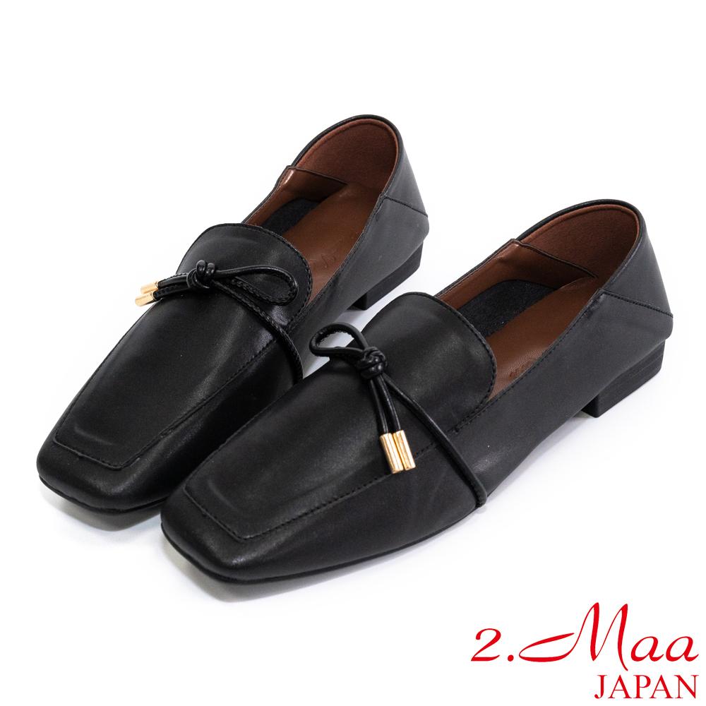 2.Maa 素面簡約‧牛紋皮蝴蝶結低跟樂福鞋 - 黑色