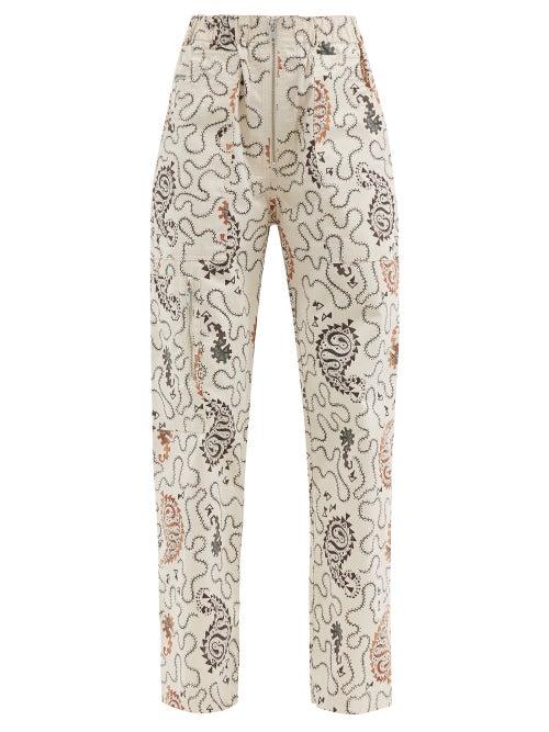 Isabel Marant Étoile - Noferis Paisley-print Cotton-twill Trousers - Womens - Ivory