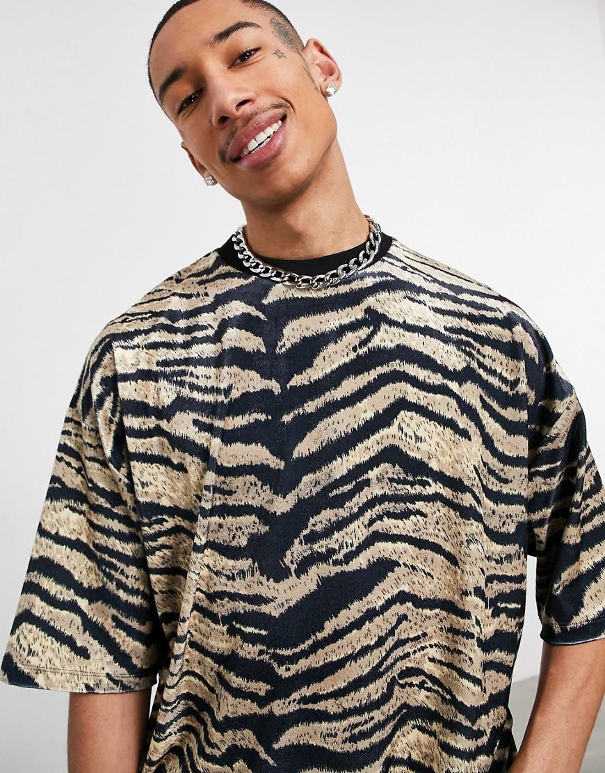 ASOS DESIGN oversized t-shirt in all over tiger velour-Multi