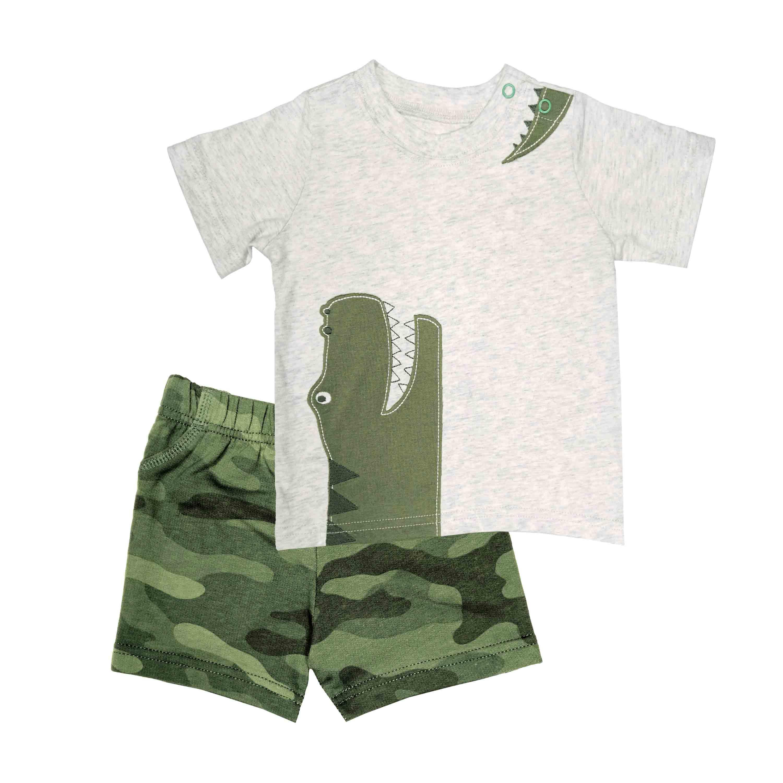 短袖套裝二件組 T恤上衣+迷彩短褲 灰恐龍 男寶寶 | Carter's 卡特【CA249G684】BB0302