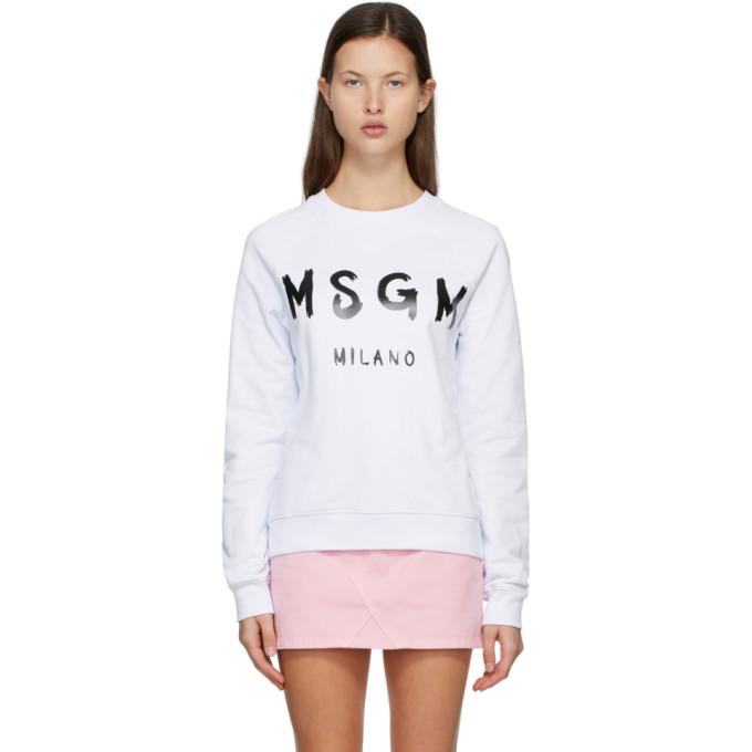 MSGM 白色拉绒徽标套头衫