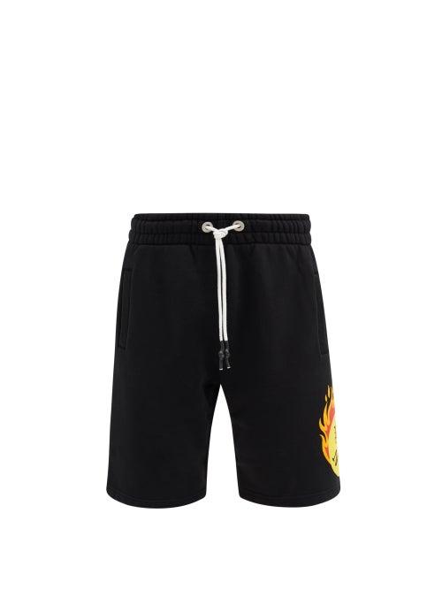 Palm Angels - Burning Head-print Cotton-jersey Shorts - Mens - Black