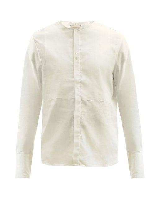 Harago - Bib-front Cotton Shirt - Mens - Cream