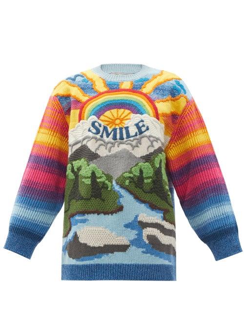 Stella Mccartney - Smile Intarsia Wool-blend Sweater - Womens - Multi