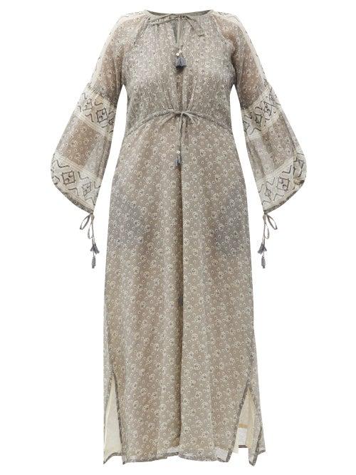 D'Ascoli - Pega Drawstring Floral-print Cotton-khadi Dress - Womens - Black Multi