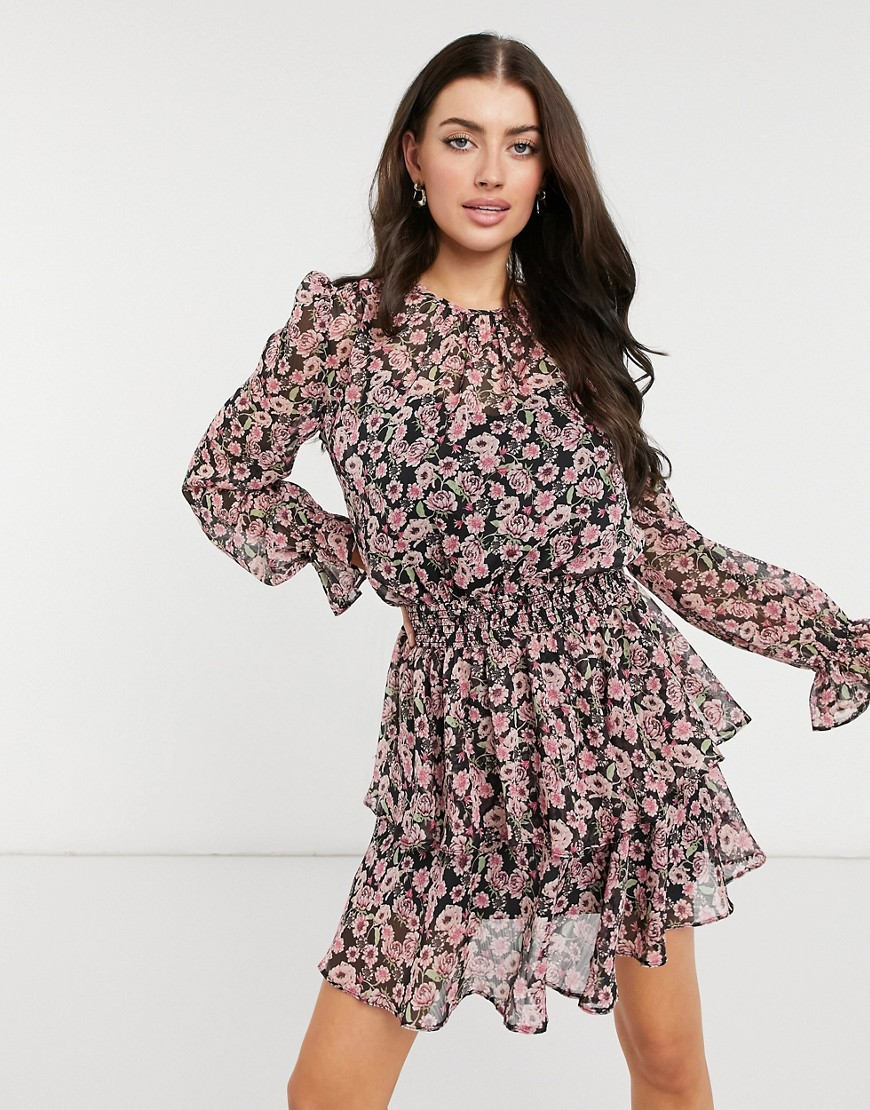 River Island floral shirred waist mini dress in pink