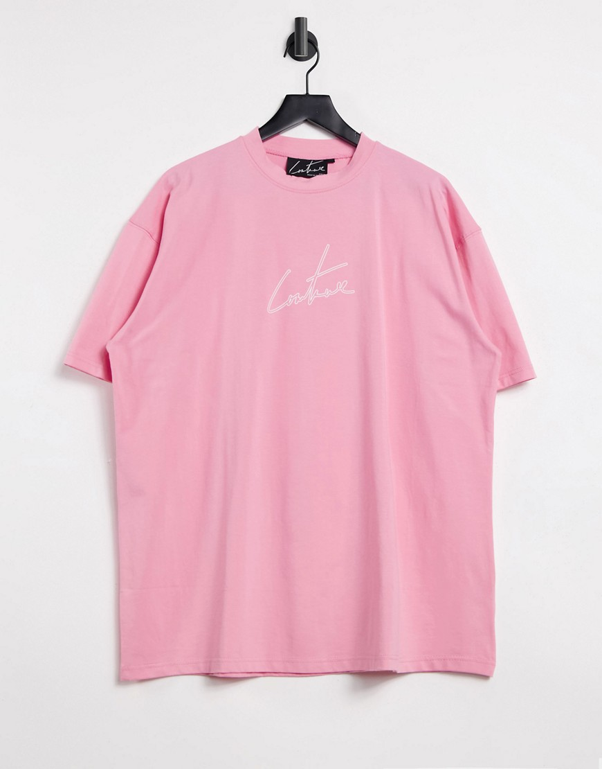 The Couture Club outline logo oversized t-shirt dress-Pink