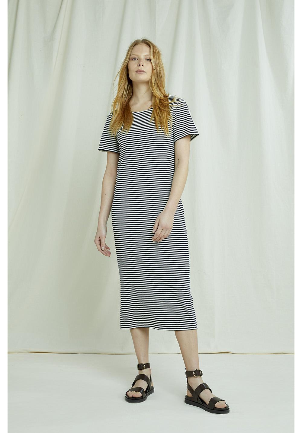 Darika Stripe Dress In Navy