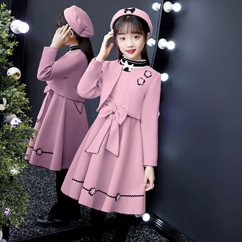 現貨童裝女秋冬連衣裙2020新款中大童學院風套裝小女孩洋氣加厚兩件套