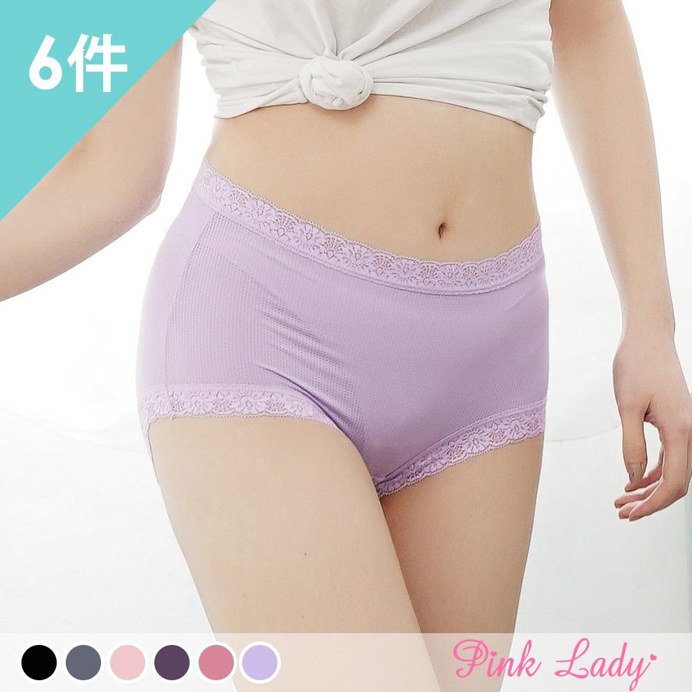 台灣製內褲 透氣涼爽 優雅花蕊 中高腰內褲8812(6件組)-Pink Lady