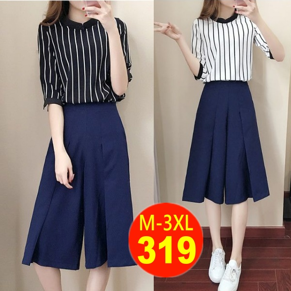 M-3XL(非優質版)氣質雪紡條紋顯瘦上衣+寬版褲七分褲兩件式套裝(兩色)-凱西娃娃