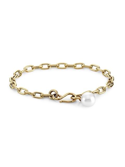 Medium 14K Yellow Gold & 8MM Pearl Charm Oval-Link Bracelet