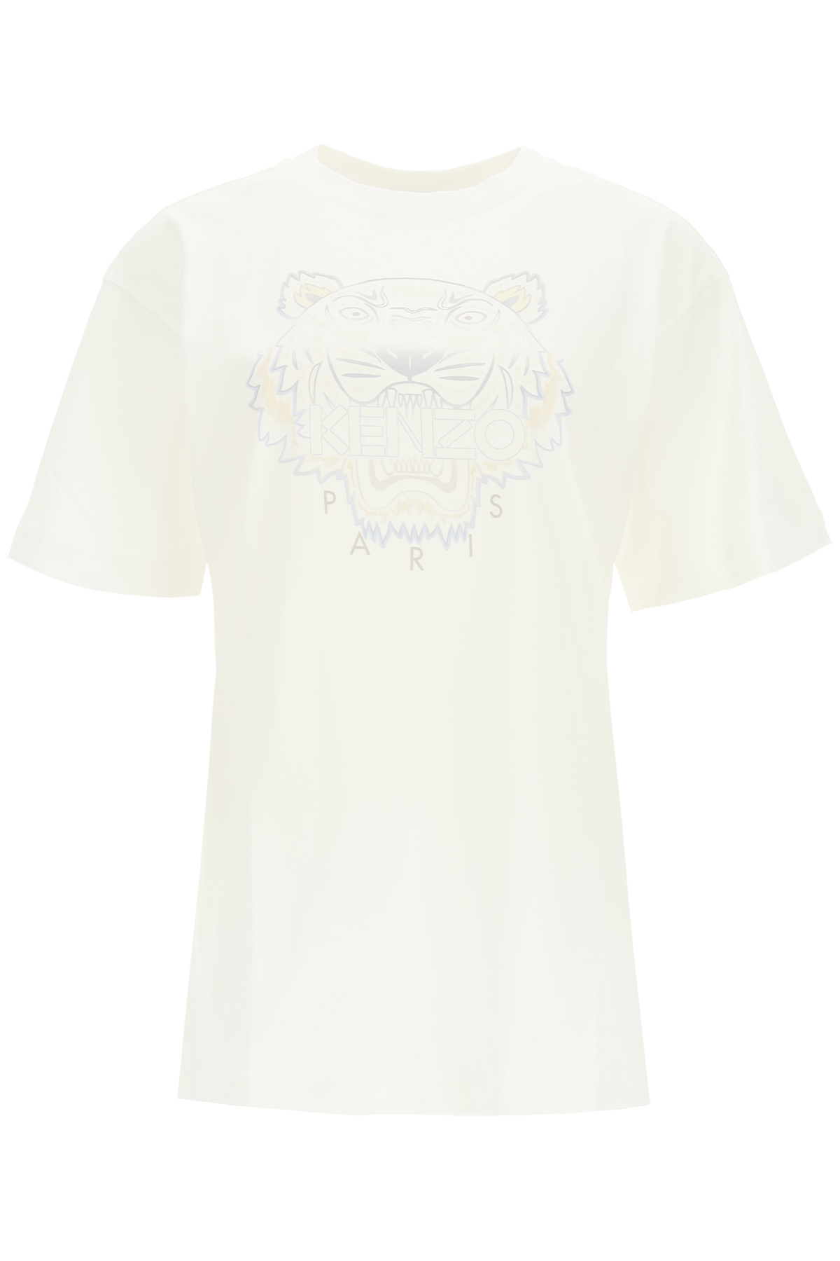 KENZO GRADIENT TIGER PRINT T-SHIRT XS White, Grey, Beige Cotton