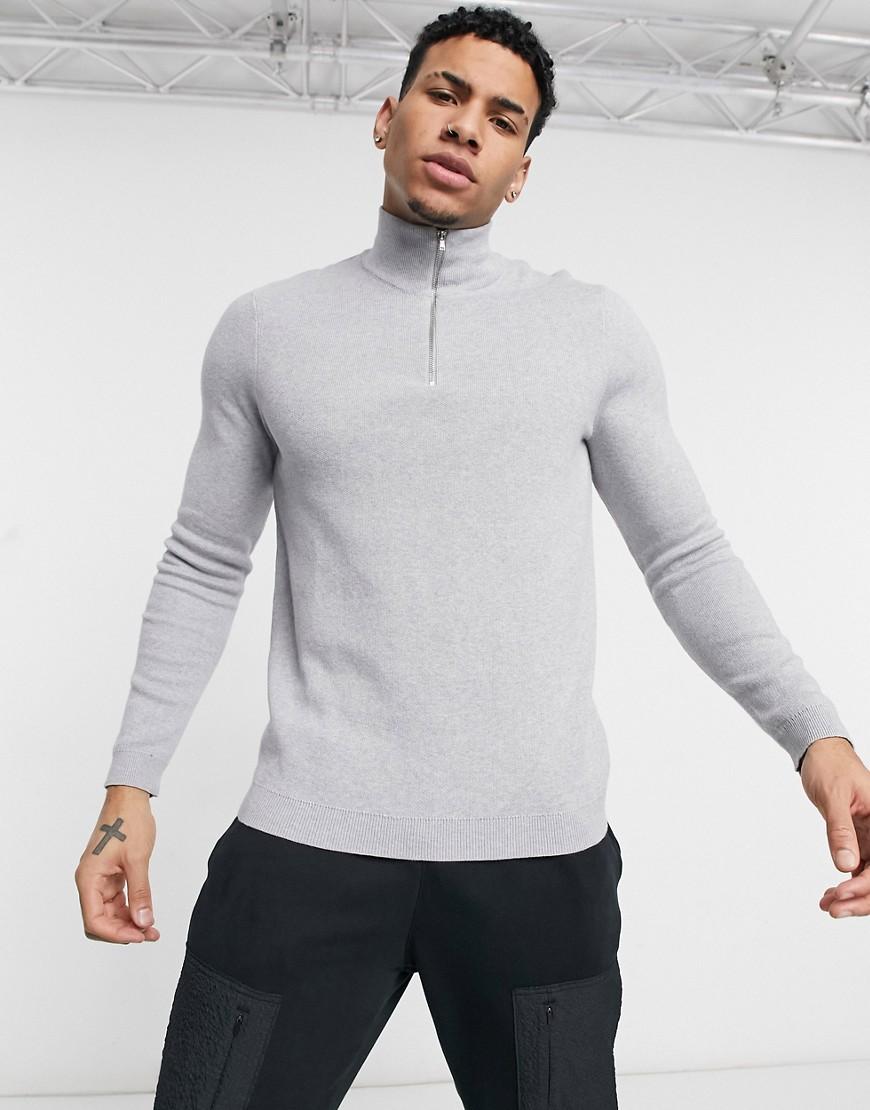 ASOS DESIGN cotton half zip jumper in grey