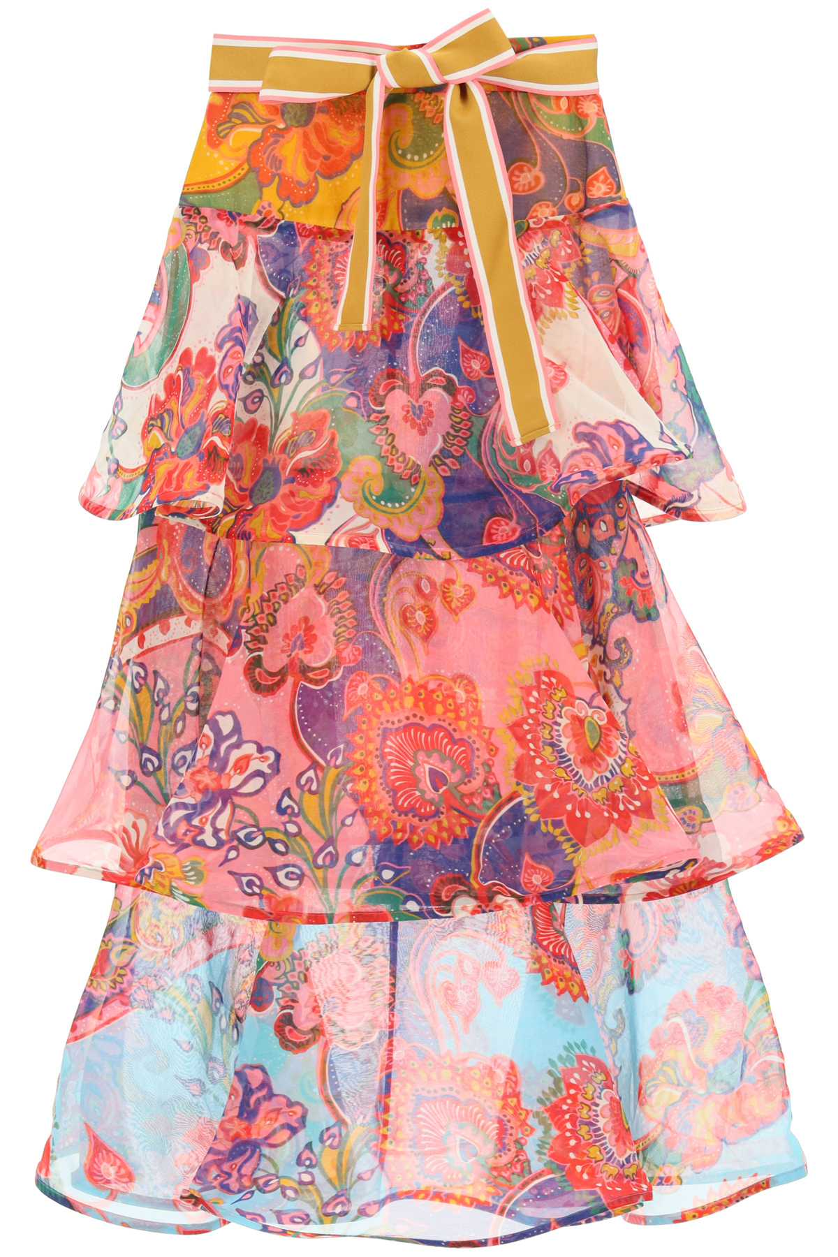 ZIMMERMANN LOVESTRUCK FLOUNCED SKIRT 0 Fuchsia, Light blue, Yellow Cotton