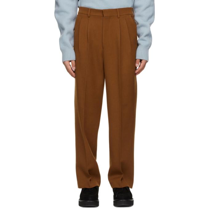 AMI Alexandre Mattiussi 棕色 Wide Fit 褶裥初剪羊毛长裤
