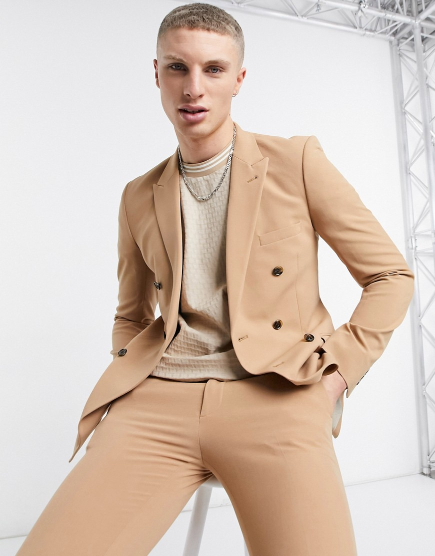 ASOS DESIGN super skinny double breasted suit jacket in camel-Neutral