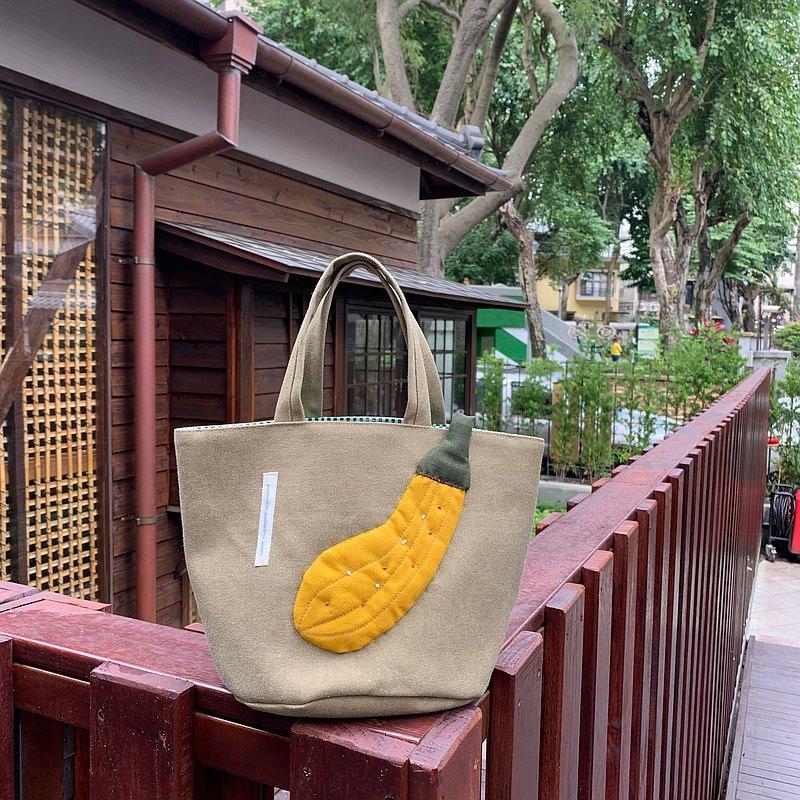 黃節瓜/摩卡綠底/便當袋
