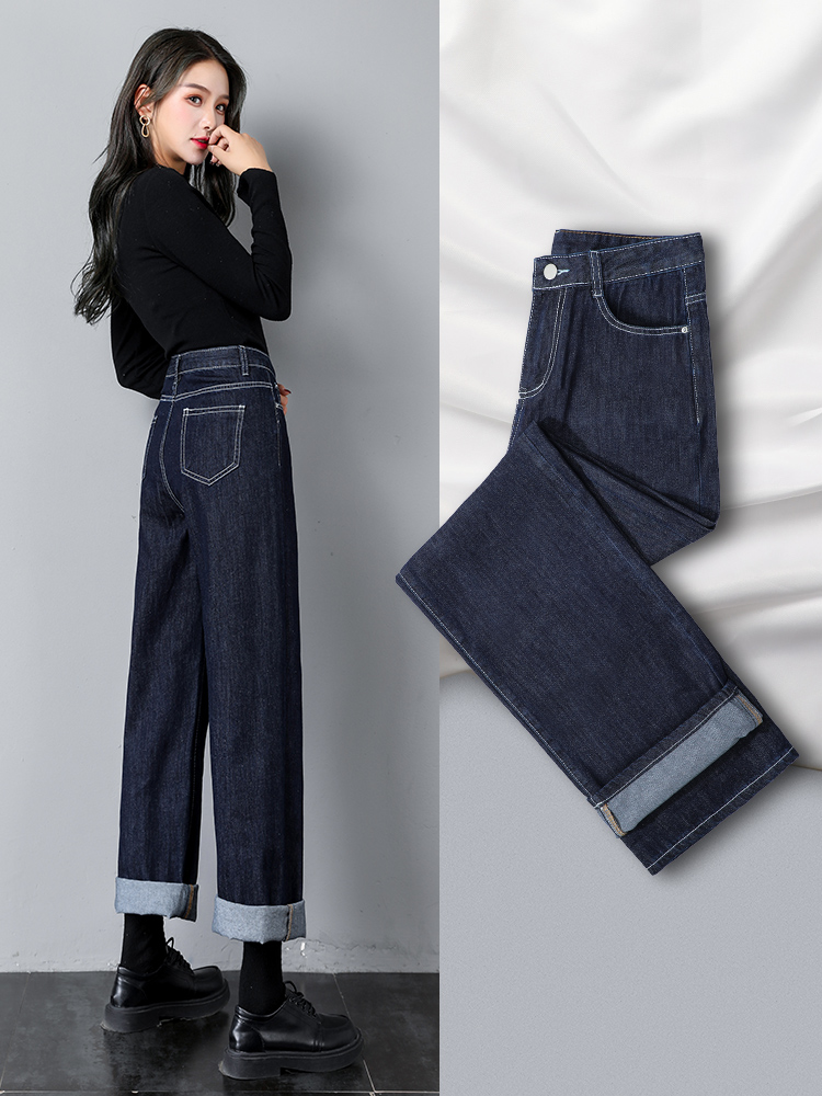 直筒牛仔褲女寬鬆秋冬2020年新款高腰顯瘦黑色小個子加絨闊腿褲子